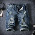 Homens Jeans Curto Plus Size Com Buraco Decoração Verão Na Altura Do Joelho-Comprimento de Algodão Calções Masculinos de Verão Casuais Curto Homme A3006