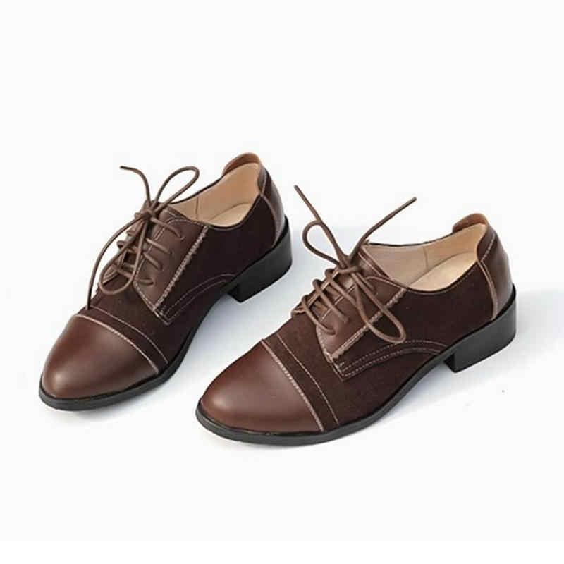 2018 moda Brogue Oxford kadın ayakkabı siyah kahverengi Oxford ayakkabı kadınlar Flats Moccasins Sapatos Femininos Zapatos Mujer