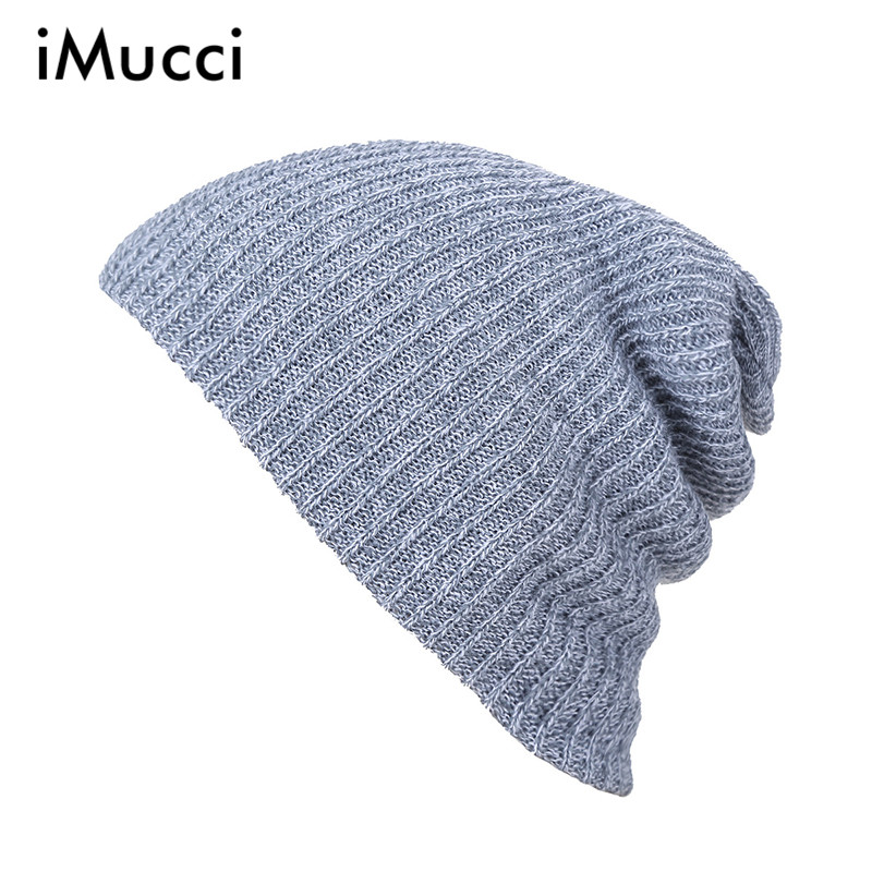 iMucci Knit Men's Women's Baggy Beanie Oversize Winter Warm Hat Ski Slouchy Chic Crochet Knitted Cap Skull 6 Color Casual Caps winter casual cotton knit hats for women men baggy beanie hat crochet slouchy oversized ski cap warm skullies toucas gorros 448e