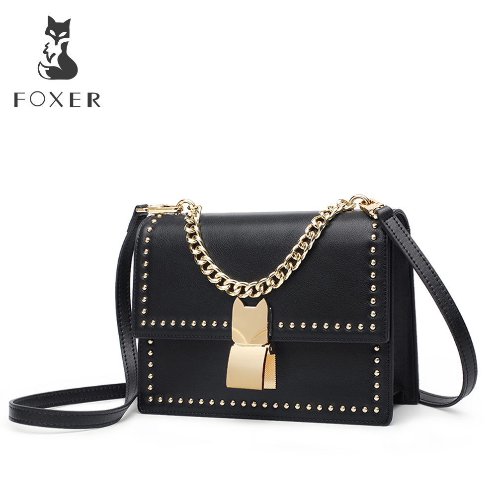 FOXER Women Leather Crossbody Shoulder Bag For Female Split Cowhide Fashion Rivet Messenger Bags Girl Cross-body Bags