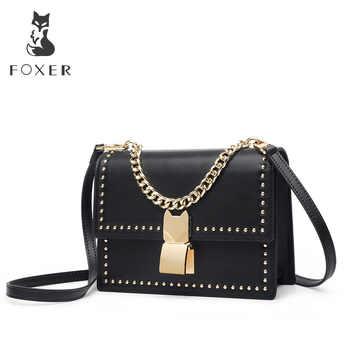 FOXER Women Leather Crossbody Shoulder bag for Female Split Cowhide Fashion Rivet Messenger bags Girl Cross-body Bags - DISCOUNT ITEM  48% OFF All Category