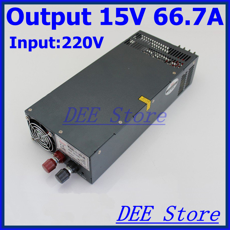 Led driver 1000W 15V 66.7A Single Output ac 220v to dc 15v Switching power supply unit for LED Strip light led driver 600w 15v 0v 16 5v 40a single output ac 220v to dc 15v switching power supply unit for led strip light