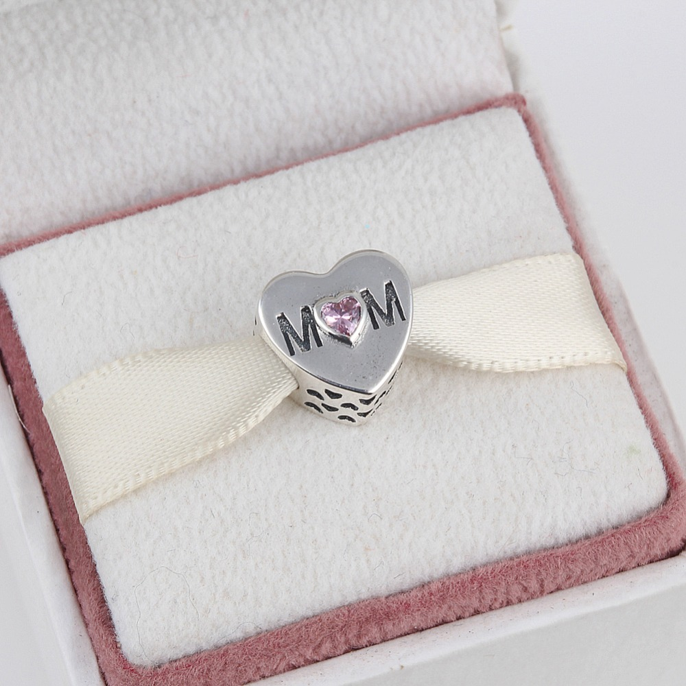 ZMZY Jewelry 925 Sterling Silver MOTHER HEART CHARM Beads Fits Pandora Charms Bracelets