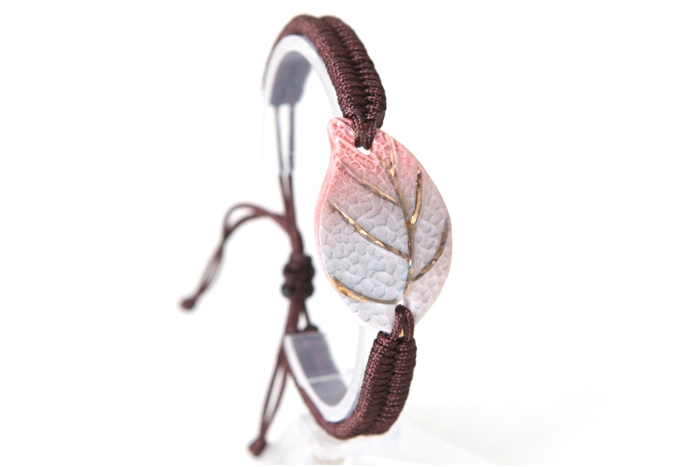 New Arrival Fashion Women Bracelet with Ceramic Made Leaf Manual Knitted Hand top Chain