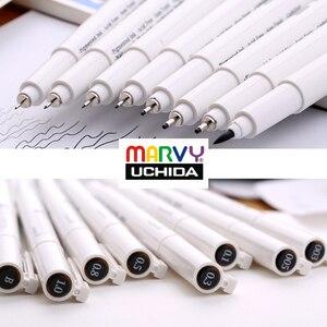 Image 2 - יפן MARVY Pigma מיקרון אוניית ציור מרקר עטים בסדר טיפ שחור דיו 003 005 01 03 05 08 1.0 מברשת sektch אמנות סמני Dessin