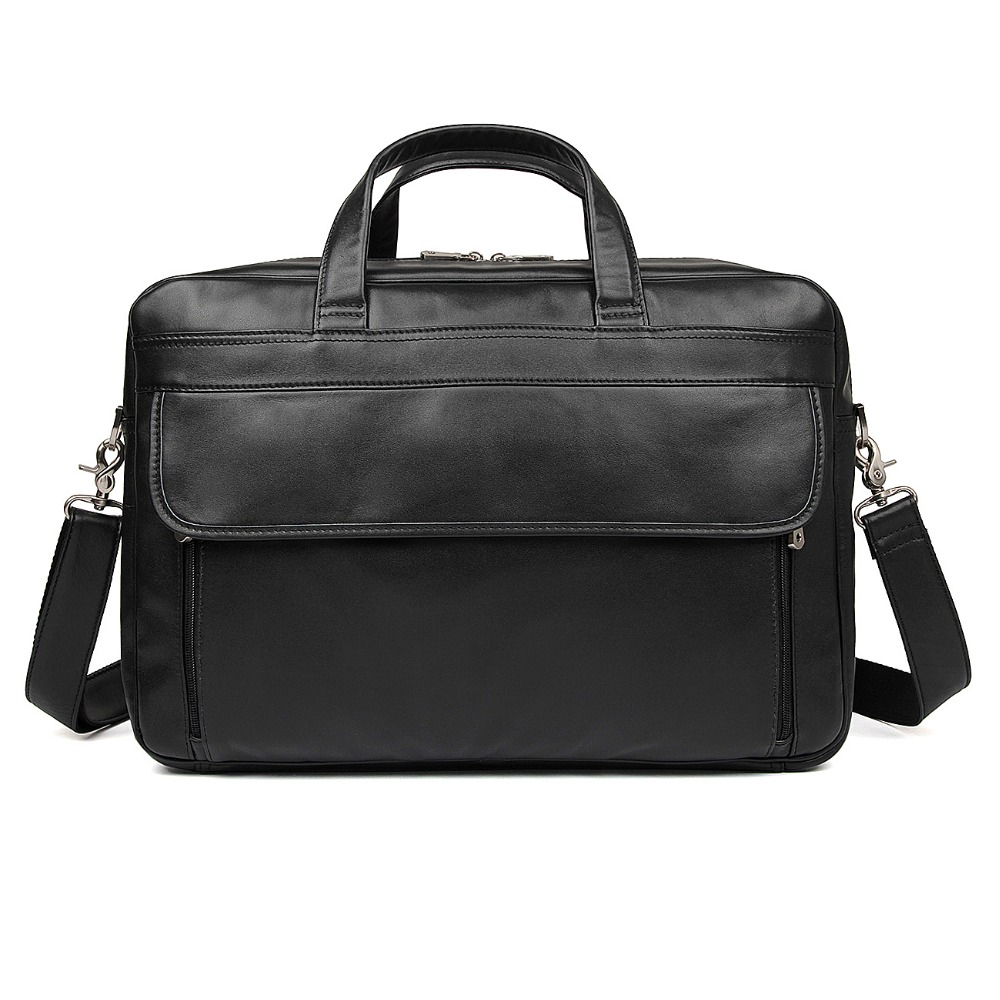 J.M.D High Quality Real Leather Briefcase Black Laptop Bag 17 inches