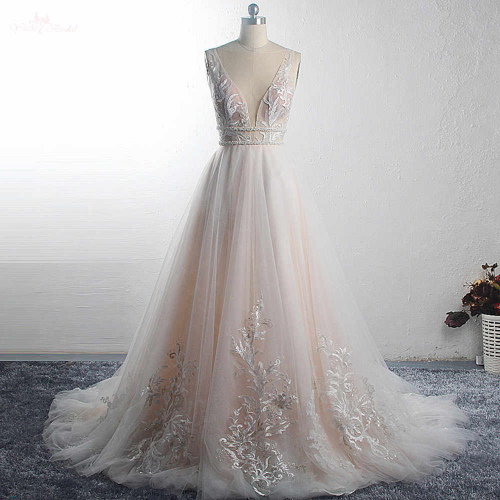 RSW1493 2019 Simply Beautiful Affordable Couture Robe Mariage Blush Colored V Neckline Wildely Boho Wedding Dress