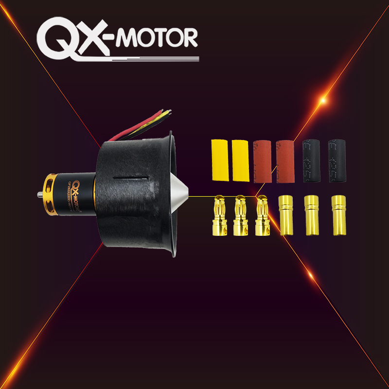 QX-MOTOR DIY Drone 64mm EDF Set 2822 3800KV Brushless Motor with 12 Blades Ducted Fan With 80A esc for RC Airplane Model Parts image