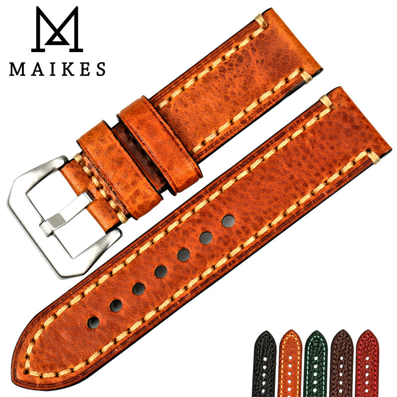 MAIKES New watch band 20mm 22mm 24mm 26mm brown watch accessories Italian cow leather watch strap bracelet for Fossil watchbands maikes 18mm 20mm 22mm watch belt accessories watchbands black genuine leather band watch strap watches bracelet for longines