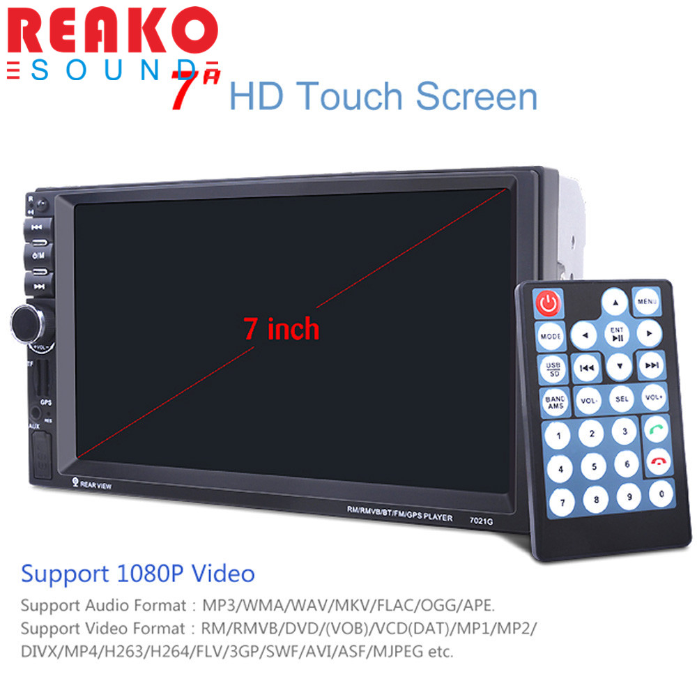REAKOSOUND GPS 7inch Touch Screen Support hands-free calls Car Stereo MP5 Player FM USB SD TF Bluetooth Radio + Map Brand New 12v 4 1 inch hd bluetooth car fm radio stereo mp3 mp5 lcd player steering wheel remote support usb tf card reader hands free