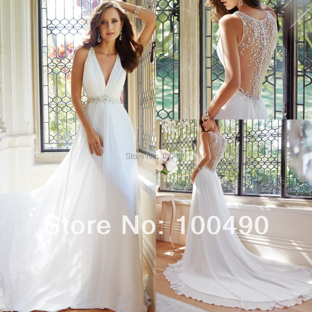 Sleeveless slim A line gown in ethereal chiffon plunging V neckline ...