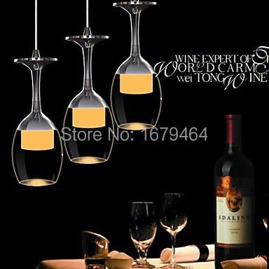 LED 9W LED 3 PCS Cup pendant Light Wineglass Pendant Lamp for Living Room Bar Saloon Dining Room
