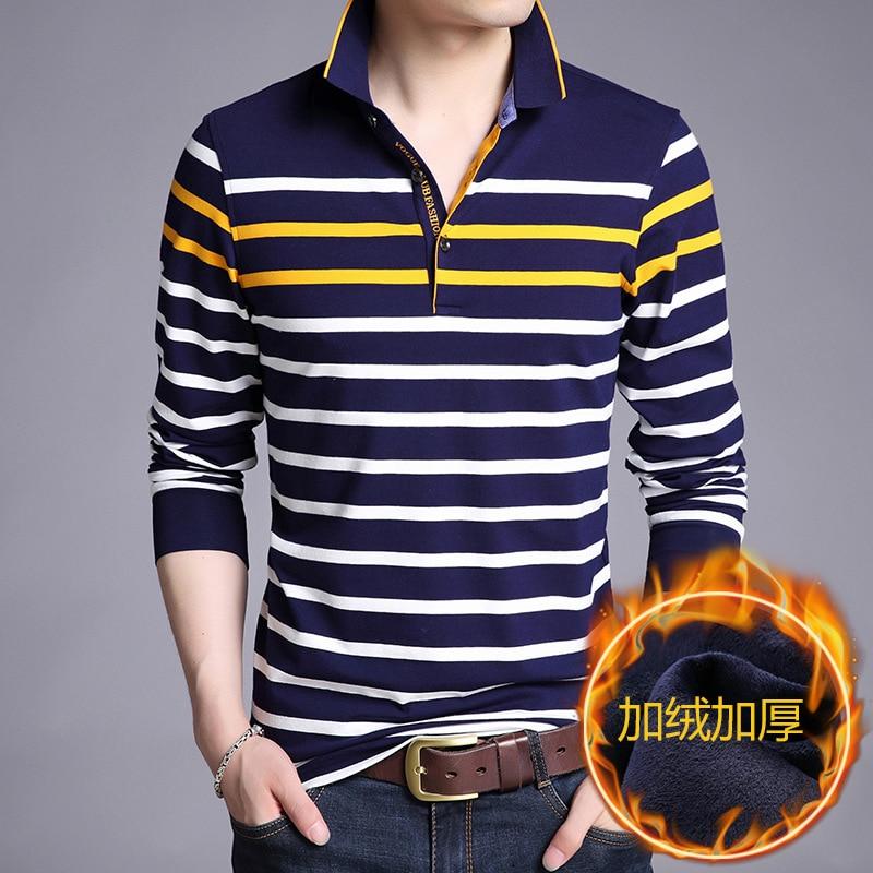 Autumn and Winter Men's Shirt Plus Velvet Long-sleeved Lapel   Polo   Shirt Striped Warm   Polo   Shirt