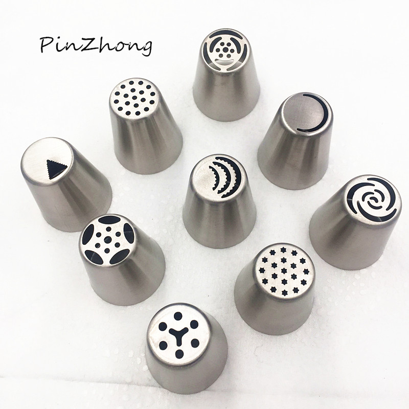 Com 1000i Cake Icing And Decorating Equipment : 9PCS Russian Stainless Steel Icing Piping Nozzles Tips ...