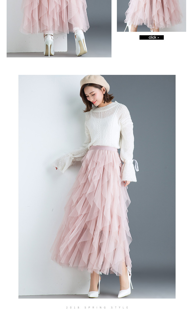 Women irregular Tulle Skirts Fashion Elastic High Waist Mesh Tutu Skirt Pleated Long Skirts Midi Skirt Saias Faldas Jupe Femmle 45