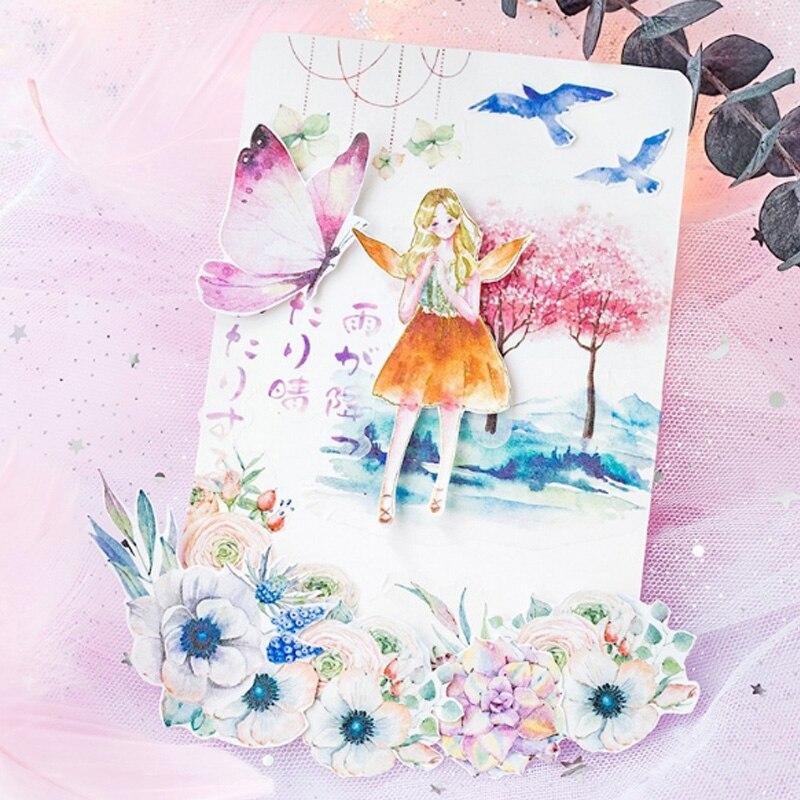 Купить с кэшбэком 60pcs/lot Girl's Series Hot Stamping Silver Sticker Pack Diary Decoration Scrapbooking diy seal Sticker Stationery