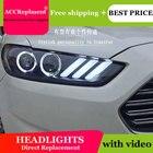 Car Styling for 2013-2015 Ford Mondeo Headlights Mustan LED Headlight DRL Lens Double Beam HID Xenon bi xenon lens