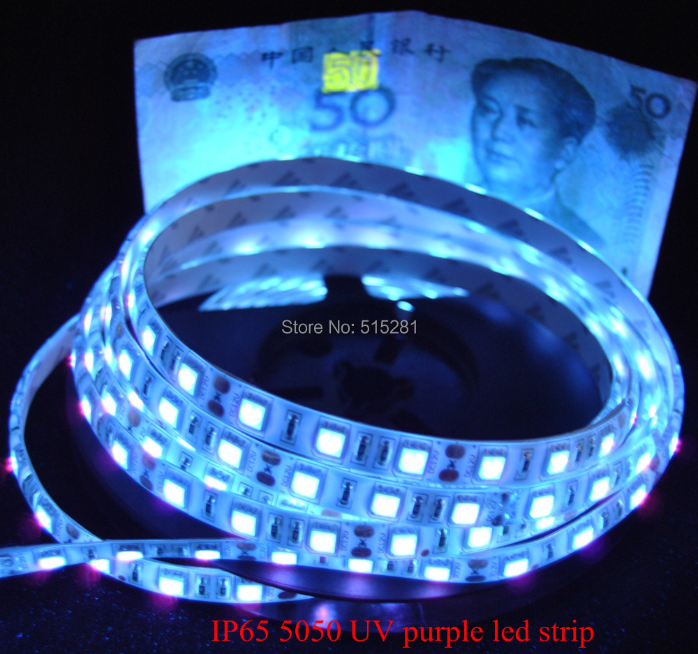 1M 5M UV 5050 LED Strip SMD Ultraviolet LED Strip Light DC12V  60leds/m 300leds/roll Purple Identify Money High Brightness