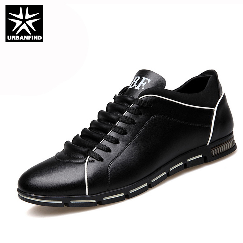 URBANFIND 2018 Men Shoes PU Leather Casual British style Lace up Brown Black Men Dress Shoes Men leather shoes EU 37-50 pu leather panel lace up flare coat