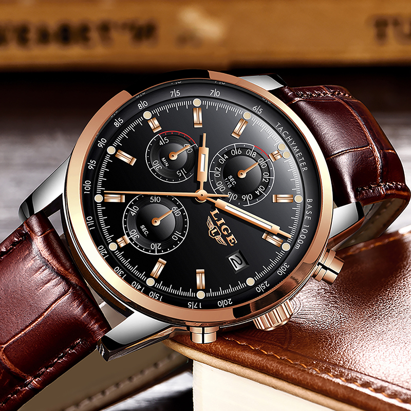 Luxury LIGE Men's Quartz Chronograph Watch Leather Band 1