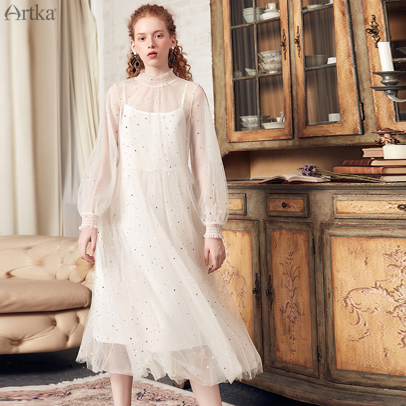 ARTKA 2019 New Women Two piece Set Dress Thin Mesh Lace Full Sleeve Sweet Dress Sequined