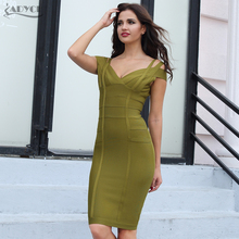ADYCE 2018 New Women Bandage Dress Sexy Off the Shoulder Knee-Length Bodycon Vestidos Stunning Celebrity Prom Party Dress