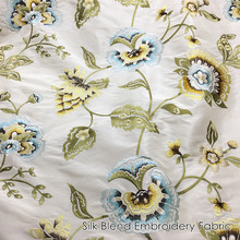 """Deluxe American Style Duppion Silk Polyester Blend Embroidery Flower Silk Fabric Pillow Decorative Cloth 55"""" width Sell by meter"""