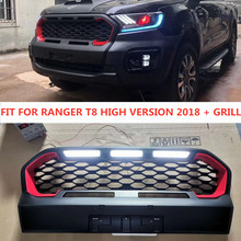 MATTE BLACK EXTERIOR  MODIFIED MESH MASK TRIMS COVER ABS GRILL GRILLS FIT FOR RANGER T8 HIGH VERSION 2018 +XLT Wildtrak Raptor