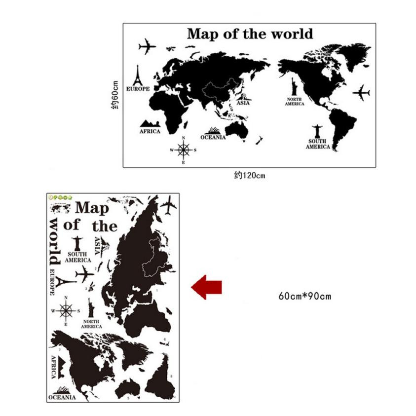 About 12060cm Black Travel World Map Poster Sticker Traveler Vacation Personalized National Geographic Maps In Wall Stickers From Home