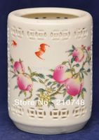 Crafts statue China hand made ceramic hollow pen holder Stained peaches Bat