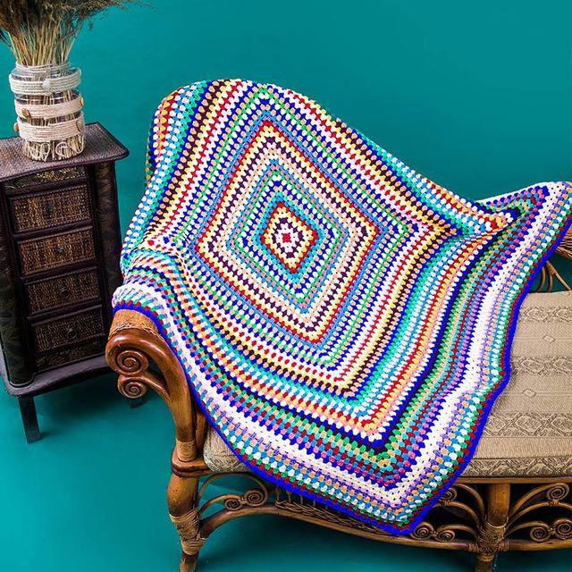 120*120 cm Color hecho a mano de ganchillo manta de lana Retro ...