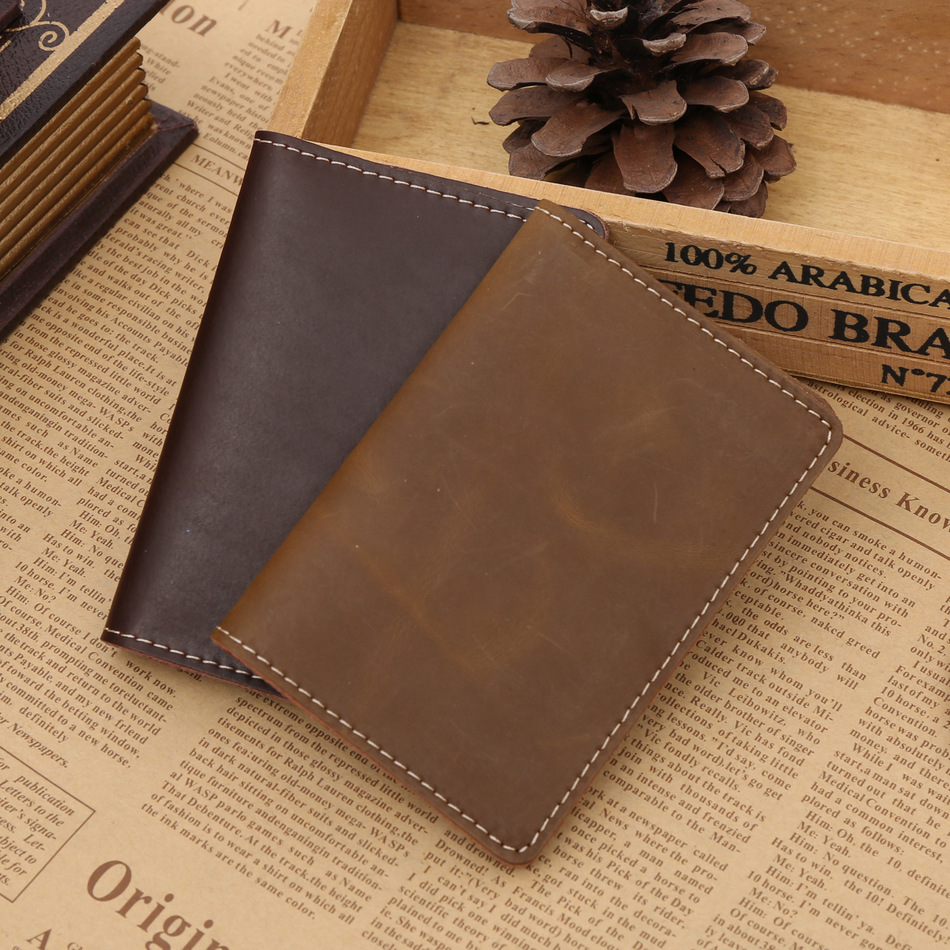 Classic Vertical New Genuine Leather Business Cards Case 2 Folds ...