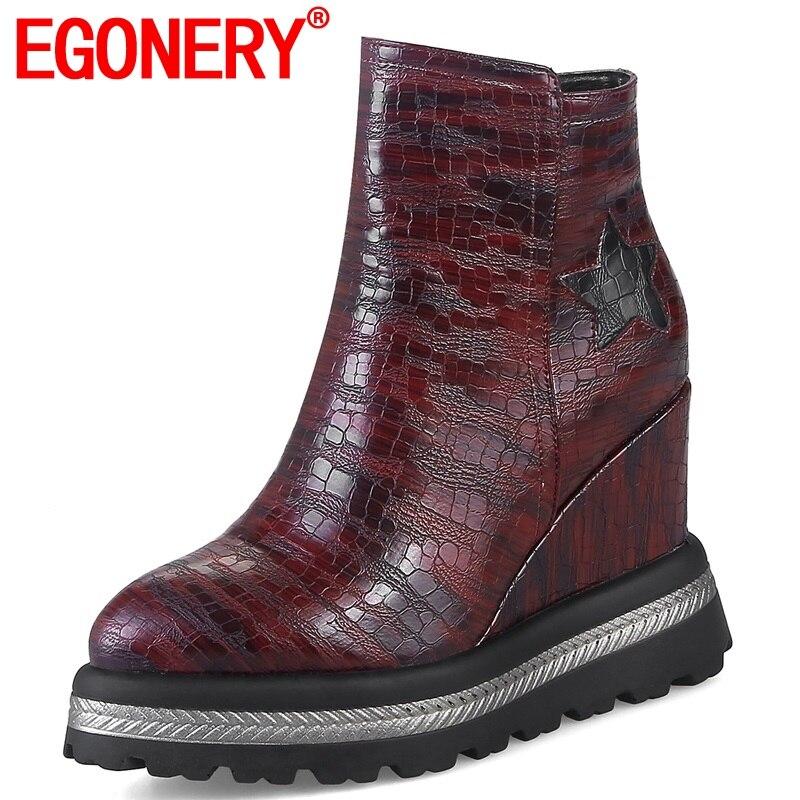 EGONERY women shoes 2019 winter warm new fashion super high wedges platform zipper pointed toe black