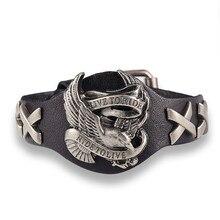 Bird Skull Retro bracelet Genuine Leather Men Woman bracelets bangles