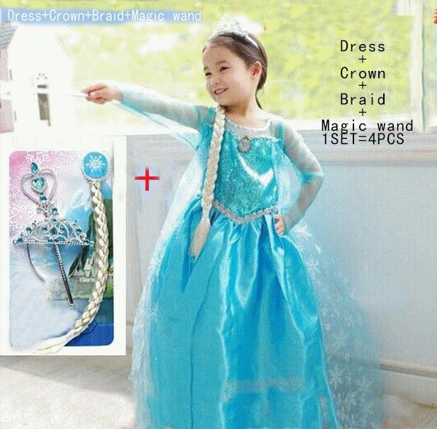Elsa dress custom made Movie cosplay Dress Elza Costume Congelados fantasia Vestido Roupas infantil meninas disfraz princesa платье для девочек new 2015 vestido disfraz princesa sofia princesinha roupas infantil meninas p06