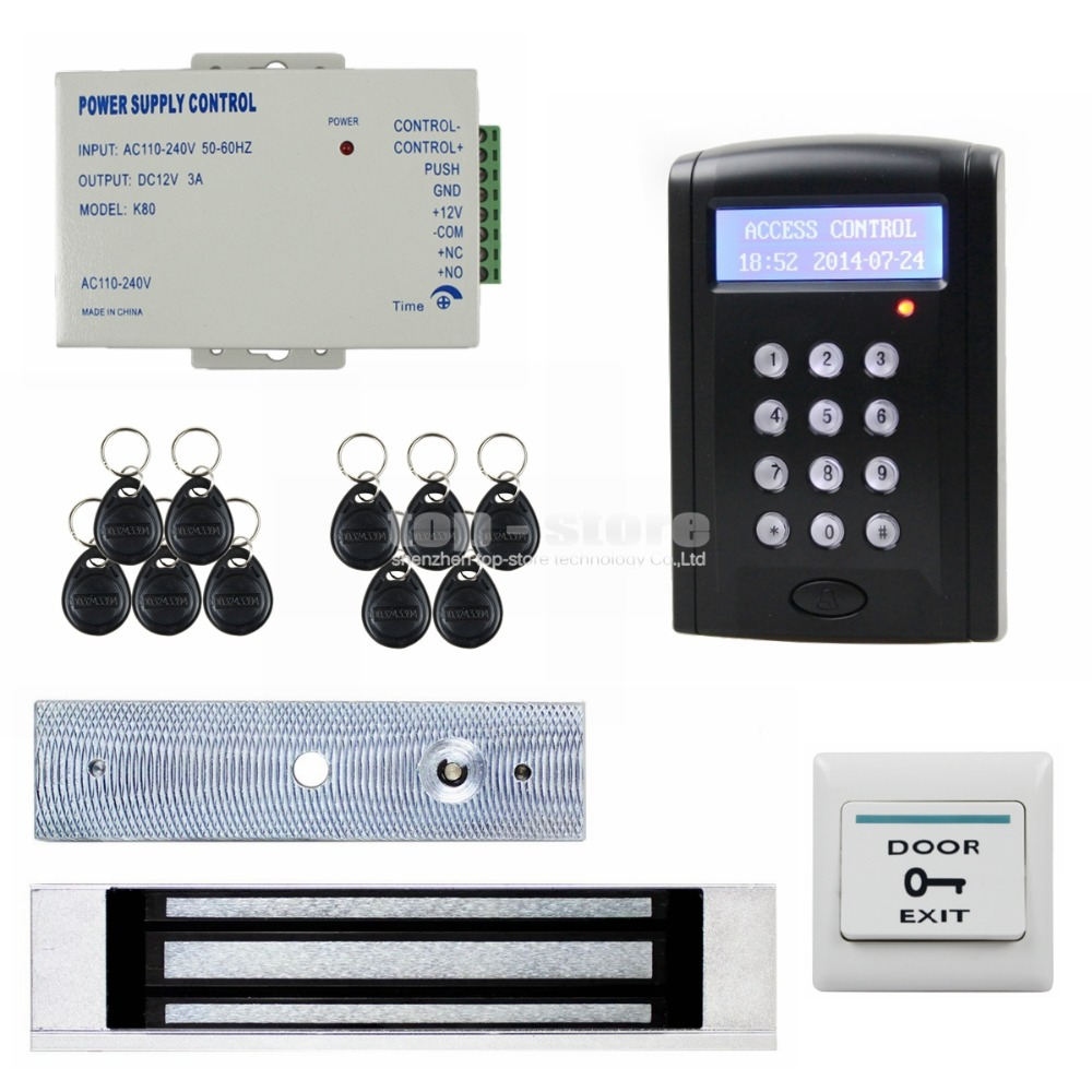 DIYSECUR 180kg Magnetic Door Lock LCD 125KHz RFID Reader Password Keypad Access Control Door Lock System Kit Security System