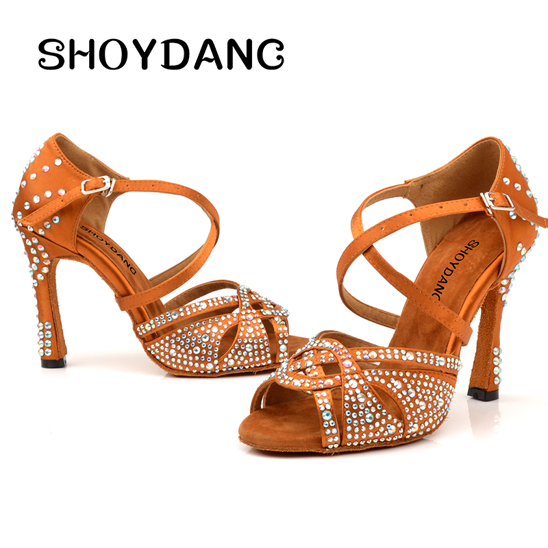 Latin Dance Shoes Women NEW Bronze Slik Satin Shining Rhinestone Cuba high heel 10cm Salsa Ballroom dancing shoes