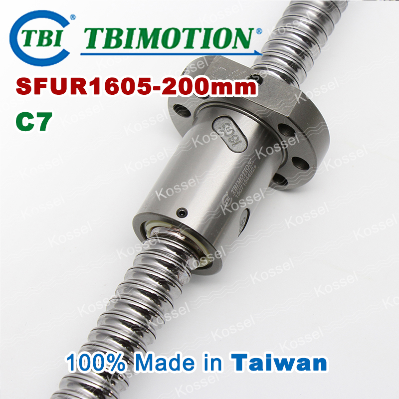 TBI 1605 C7 200mm ball screw 5mm lead with SFU1605 ballnut of rm1605 BK12 BF12 set end machined for high stability CNC diy kit tbi 2510 c3 620mm ball screw 10mm lead with dfu2510 ballnut end machined for cnc diy kit dfu set