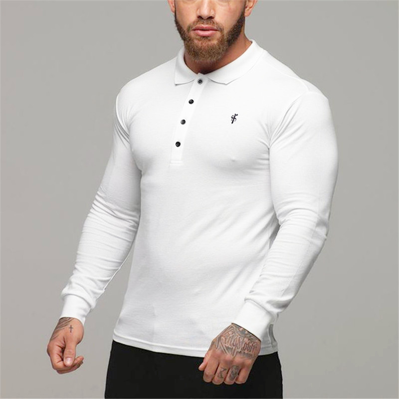 2019 New Men   Polo   Shirt Men Business Casual Fitness Solid   Polo   Shirt Male Long Sleeve Embroidery   Polo   Shirts Men Brand Clothing