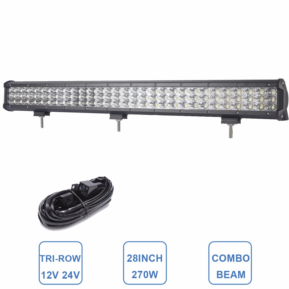270W TRI-LOW LED WORK LIGHT BAR OFFROAD 12V 24V DRIVING HEADLIGHT 28'' CAR SUV TRUCK WAGON PICKUP 4X4 AWD TRACTOR 4WD AUTO LAMP 22 200w offroad led light bar 12v 24v car auto suv truck trailer tractor atv suv boat 4wd 4x4 wagon awd driving headlight lamp