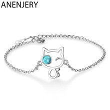 ANENJERY 925 Sterling Silver Cute Cat Bracelets Ins Blue Artificial Crystal Hand Jewelry For Women Gift S-B254(China)