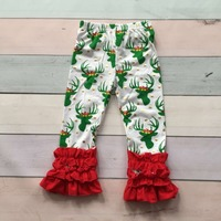 girs spring icing leggings pant Christmas ruffle pant in stock children trousers infant girl clothes toddler cotton ruffle pants