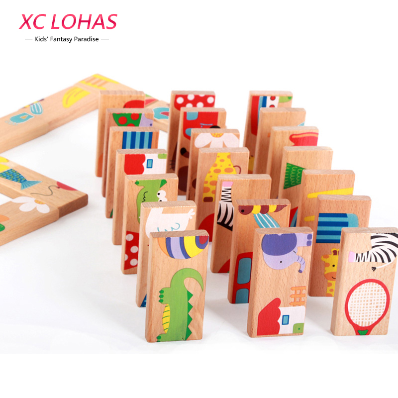 28pcs/set Animal Colored Dominoes Wooden Puzzle Cartoon Monts