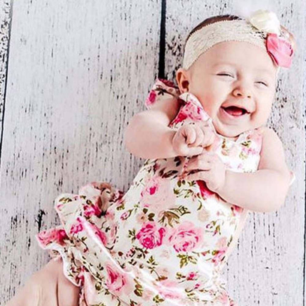 Cute Baby Girl Romper Sleeveless Cotton Ruffles Rose Flower Print Toddler Clothes Newborn Jumpsuit Girls Summer Body Suit puseky 2017 infant romper baby boys girls jumpsuit newborn bebe clothing hooded toddler baby clothes cute panda romper costumes