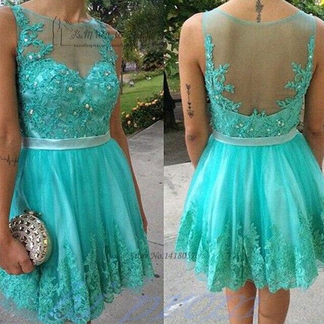 Vestidos cortos de noche color turquesa