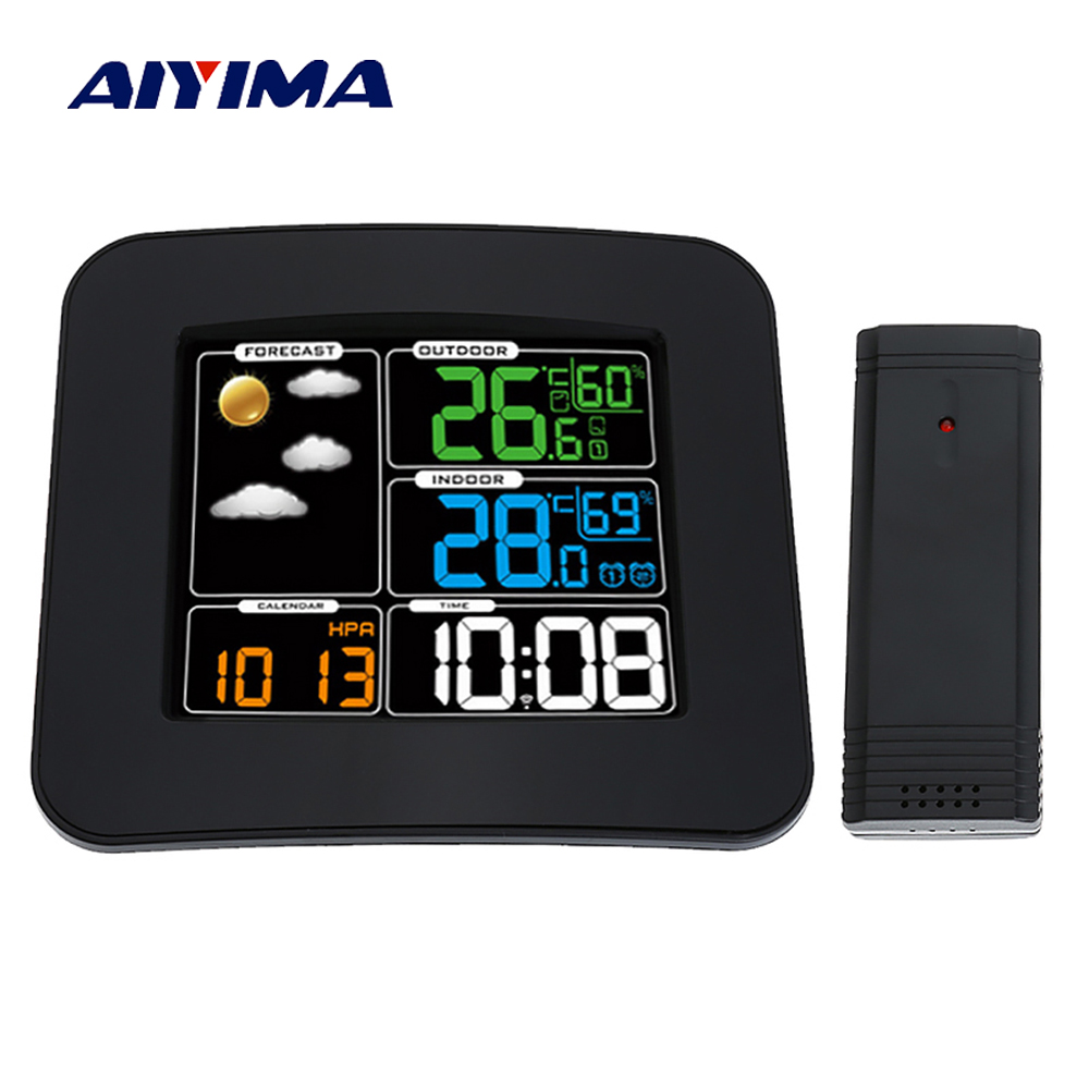 Aiyima Wireless Sensor Weather Station Barometer Clock Forecast Indoor And Outdoor Temperature Humidity Tester Switchable Clock temperature and humidity sensor protective shell sht10 protective sleeve sht20 flue cured tobacco high humidity
