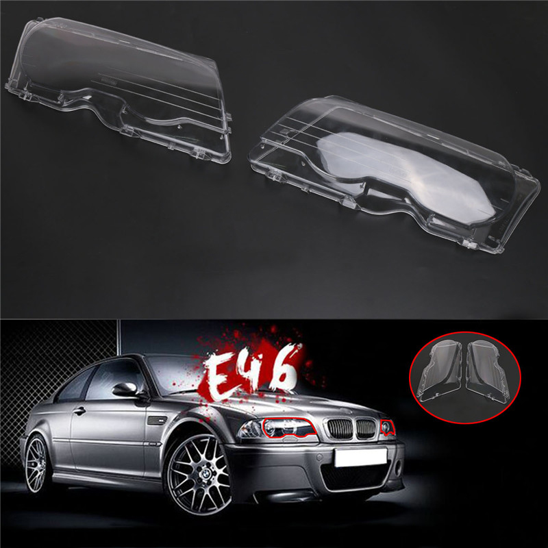 2x Halogen Headlight Lens Plastic Shell Cover For BMW E46 2 door Coupe 1999-2003 M3 2001-2006 323ci 325ci 328ci Lamp Caps // headlight clear lens cover 2 pcs front headlamp plastic shell for bmw e46 2 door 1999 2002 left