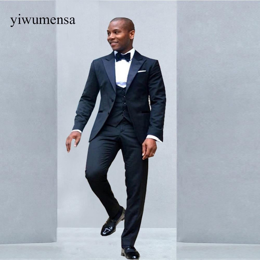YWMS 226 groom wedding Mens suit custom wedding dress Navy Bule ...