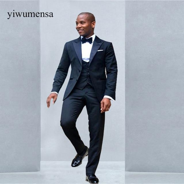 26640902b603 Trajes clásicos negros de negocios para hombres, esmoquin para bodas  unidades, novios, chaqueta de 3 piezas, chaleco y pantalones, trajes para  ...