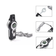 7 in 1 Survival Whistle Multifunctional Outdoor Emergency Compass Thermometer Magnifier Versatile with Lanyard Survival Kits